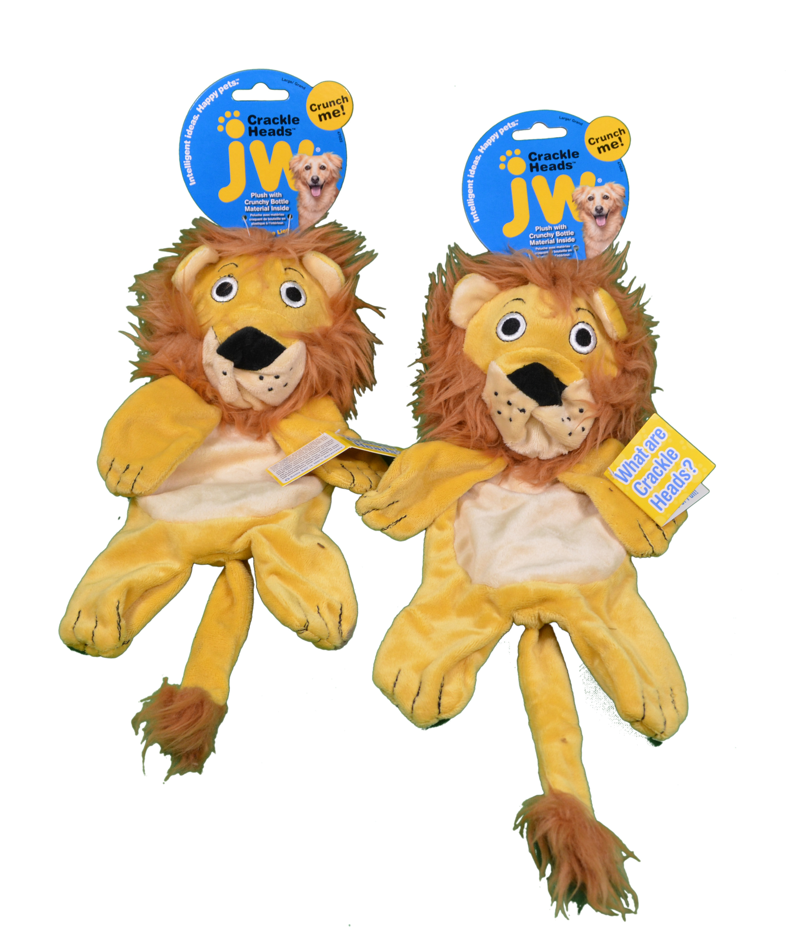 JW Pet Crackle Heads Set of 2 Large Leroy Lion Plush Dog Toy