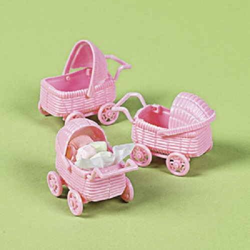 Lot of 6 baby girl pink baby carriage shower party favors for Baby carriage decoration