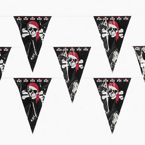 100 ft Pirate Pennant Banner 48 Party Flags Jolly Roger