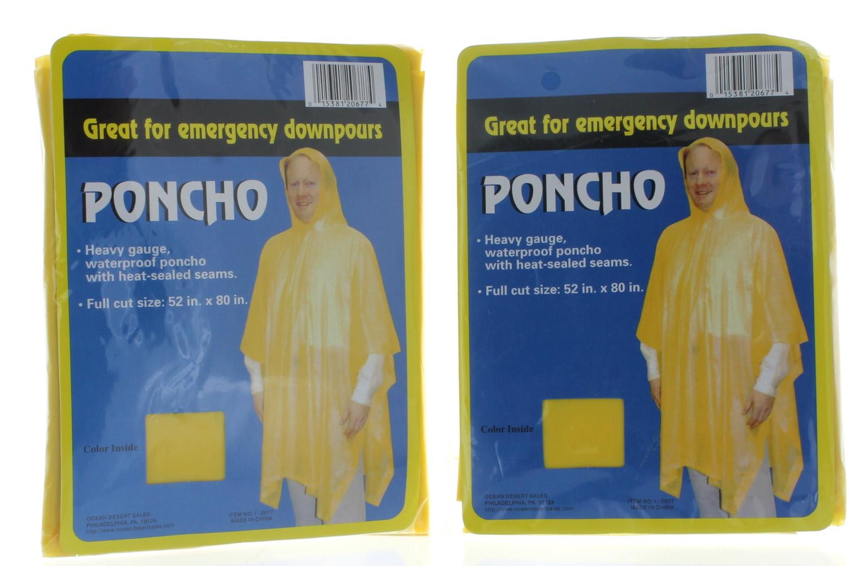 Ocean Desert Sales 2 Yellow Rain Poncho Emergency Lightweight Hood Camping Outdoor Rain Coat Jacket at Sears.com
