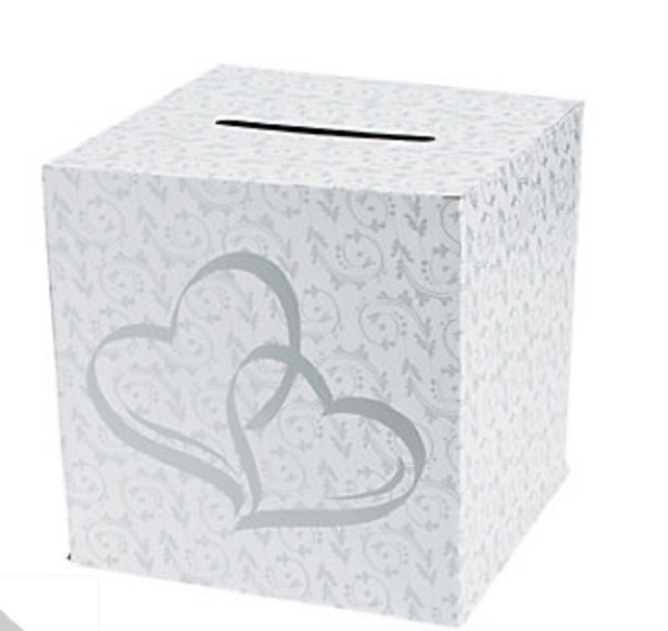 Silver Wedding Reception Gift Card Holder : Details about Wedding Gift Holder Card Box Silver Two Hearts Pattern