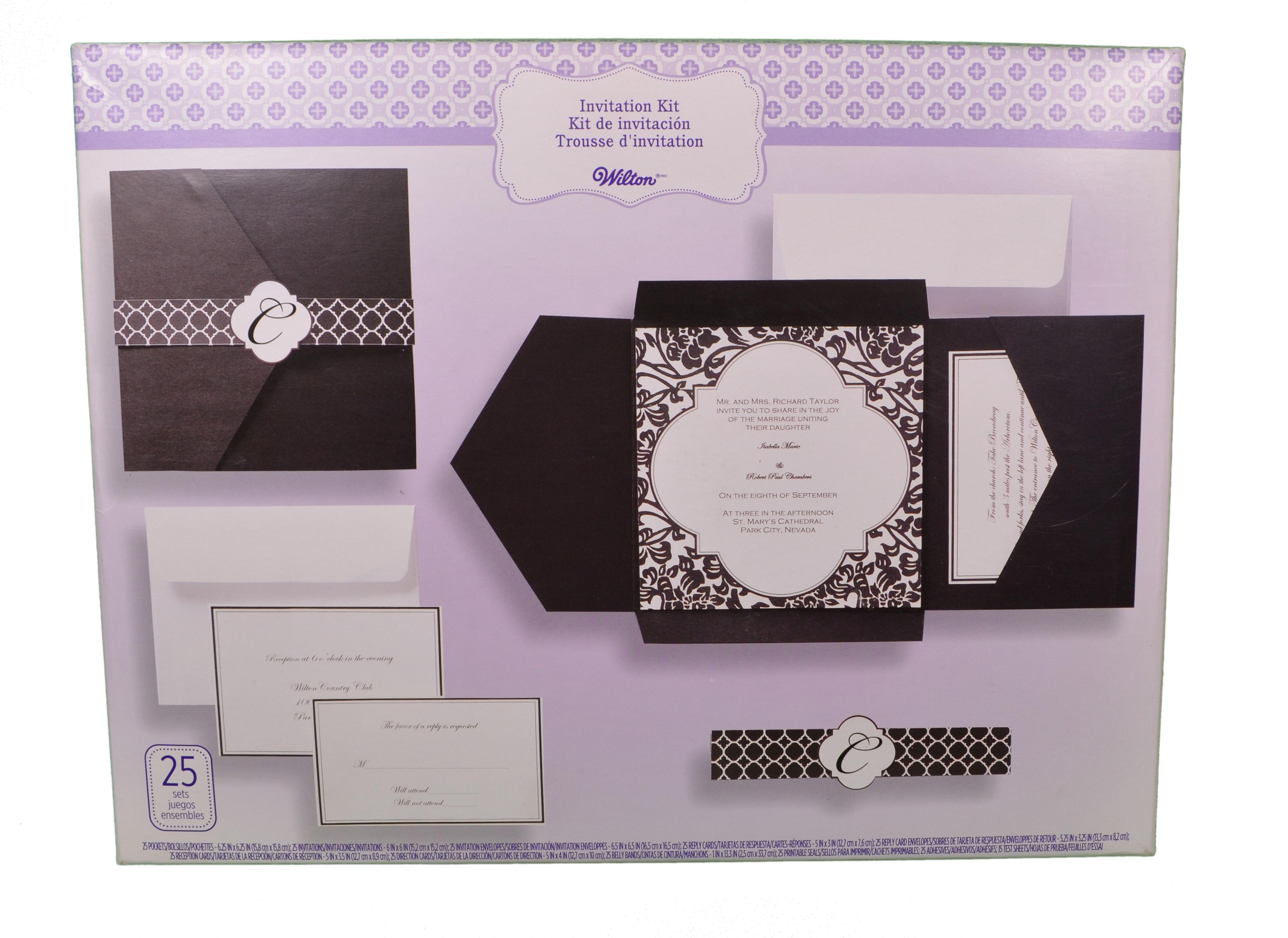 Set Of 25 Wilton Wedding Black And White Vintage Pocket Invitation Kit