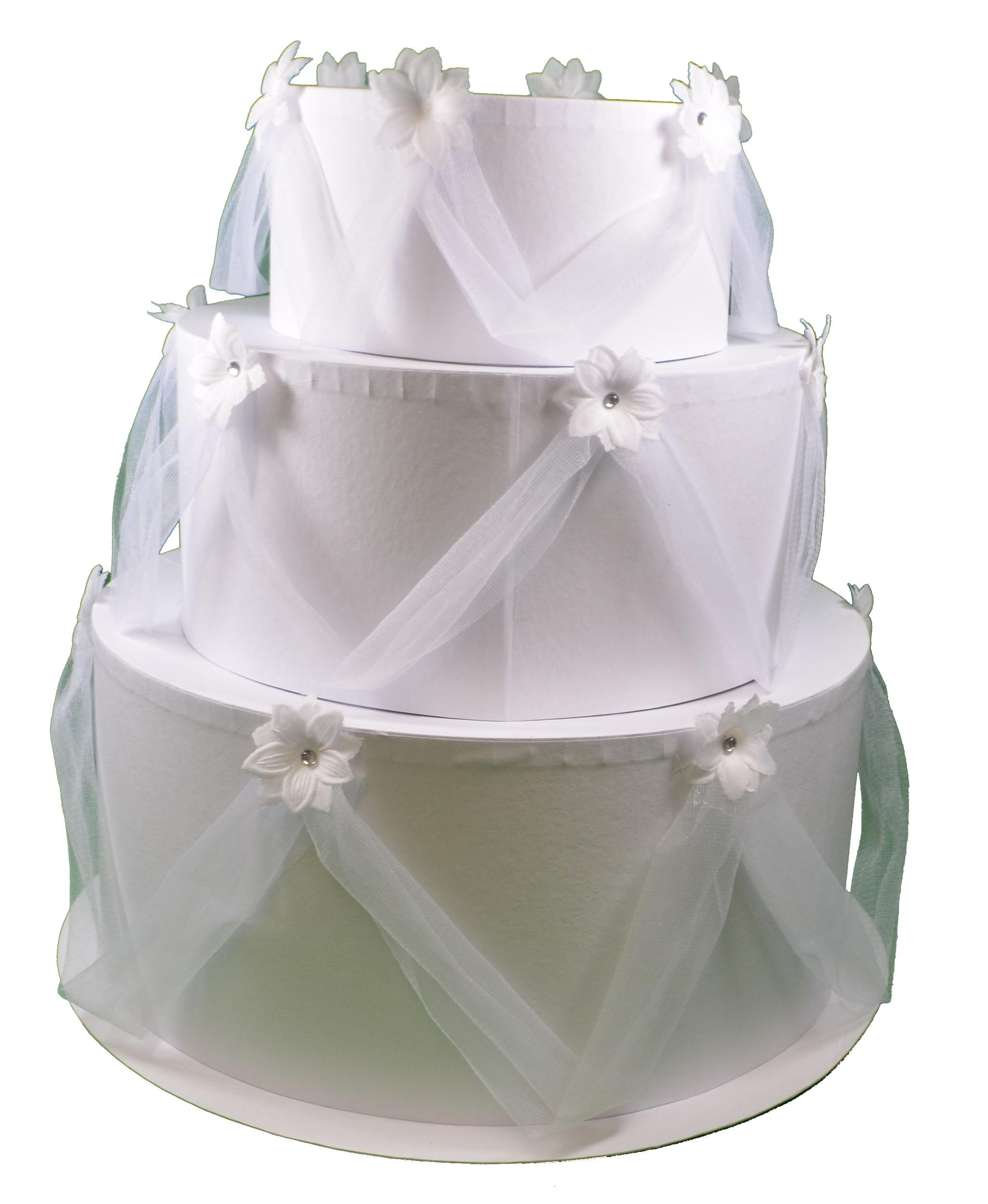 Cardboard Wedding Cake Card Box White 3 Tier Keepsake Gift