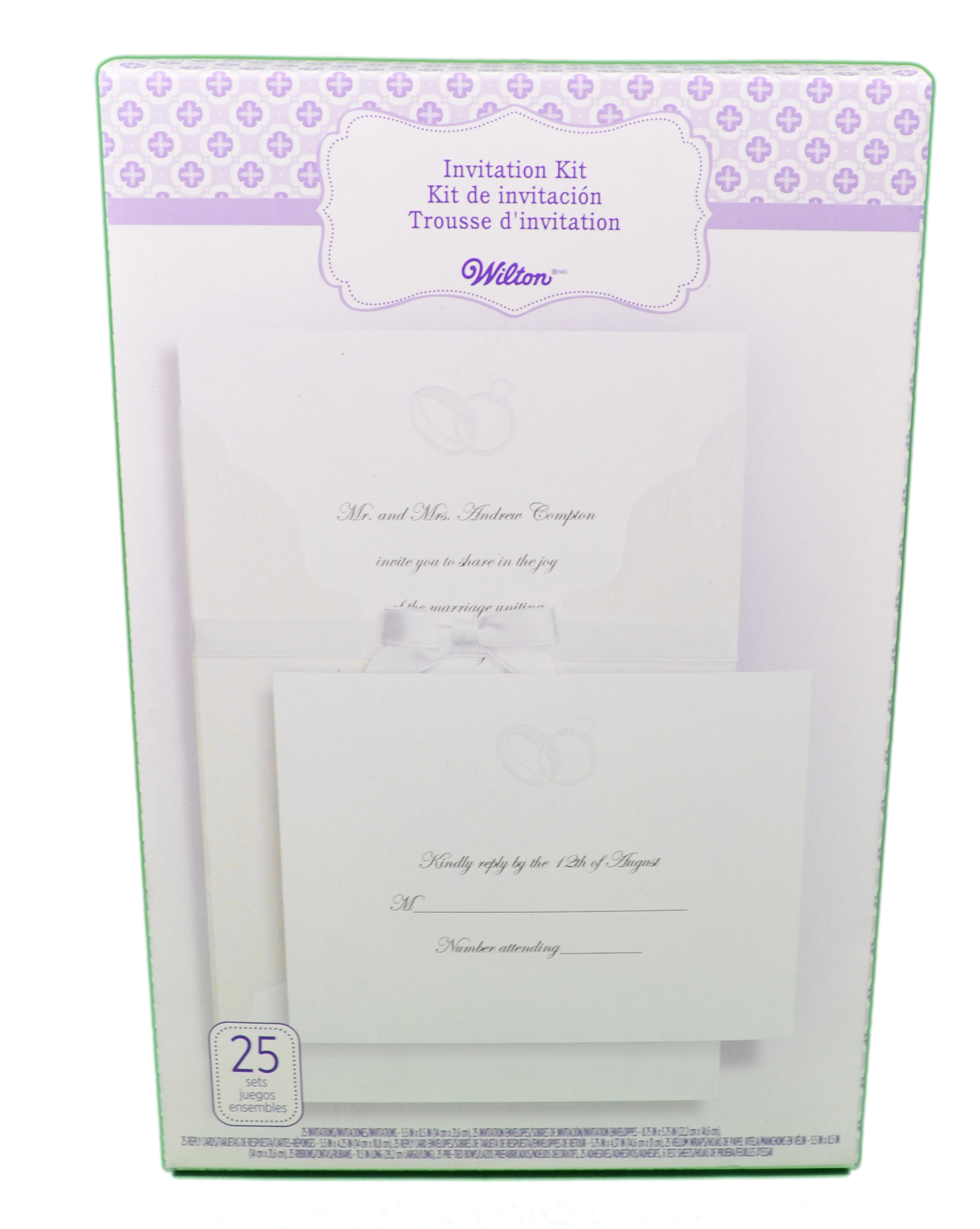 Wilton wedding invitation kit embellished rings 25 count for Www wiltonprint com templates