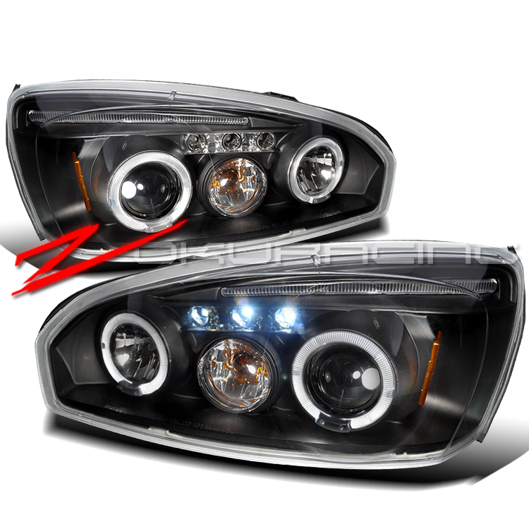 04-08 CHEVY MALIBU LED HALO PROJECTOR HEAD LIGHTS BLACK