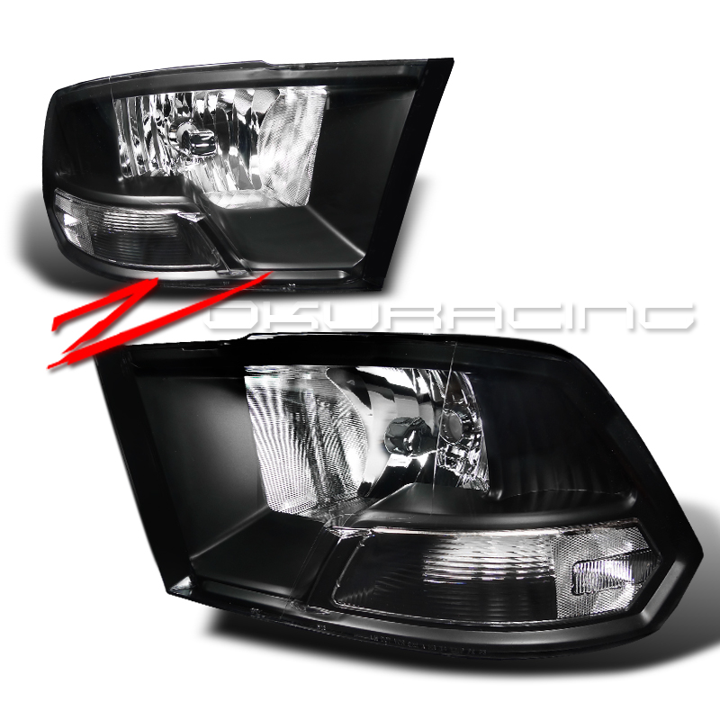 2009 2011 dodge ram 1500 2500 3500 black headlights head. Black Bedroom Furniture Sets. Home Design Ideas