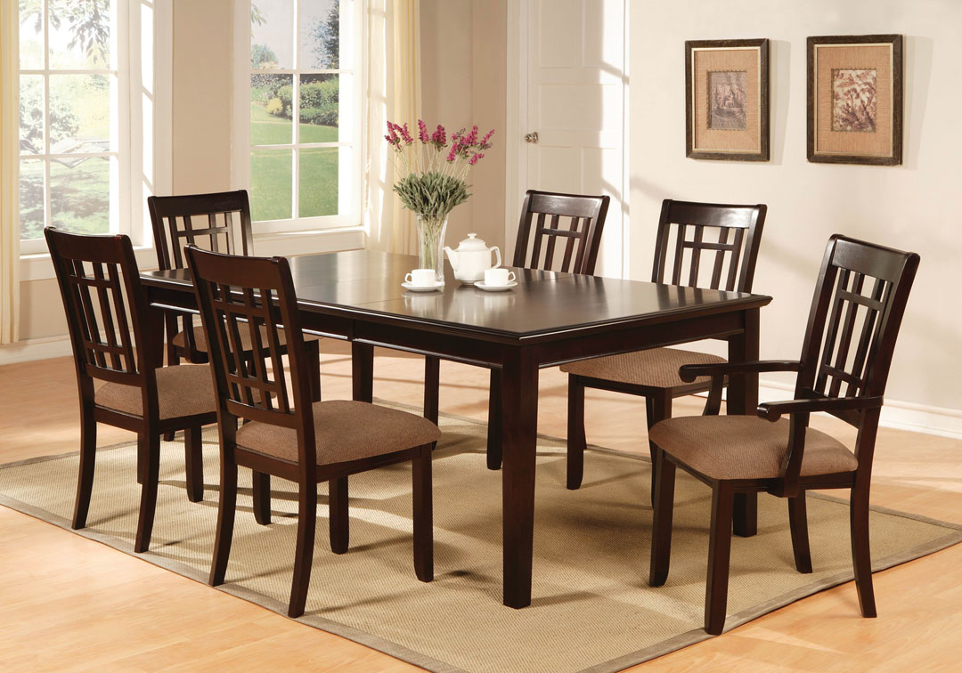 7pc 78x42 central park dining room set table wood dark cherry finish