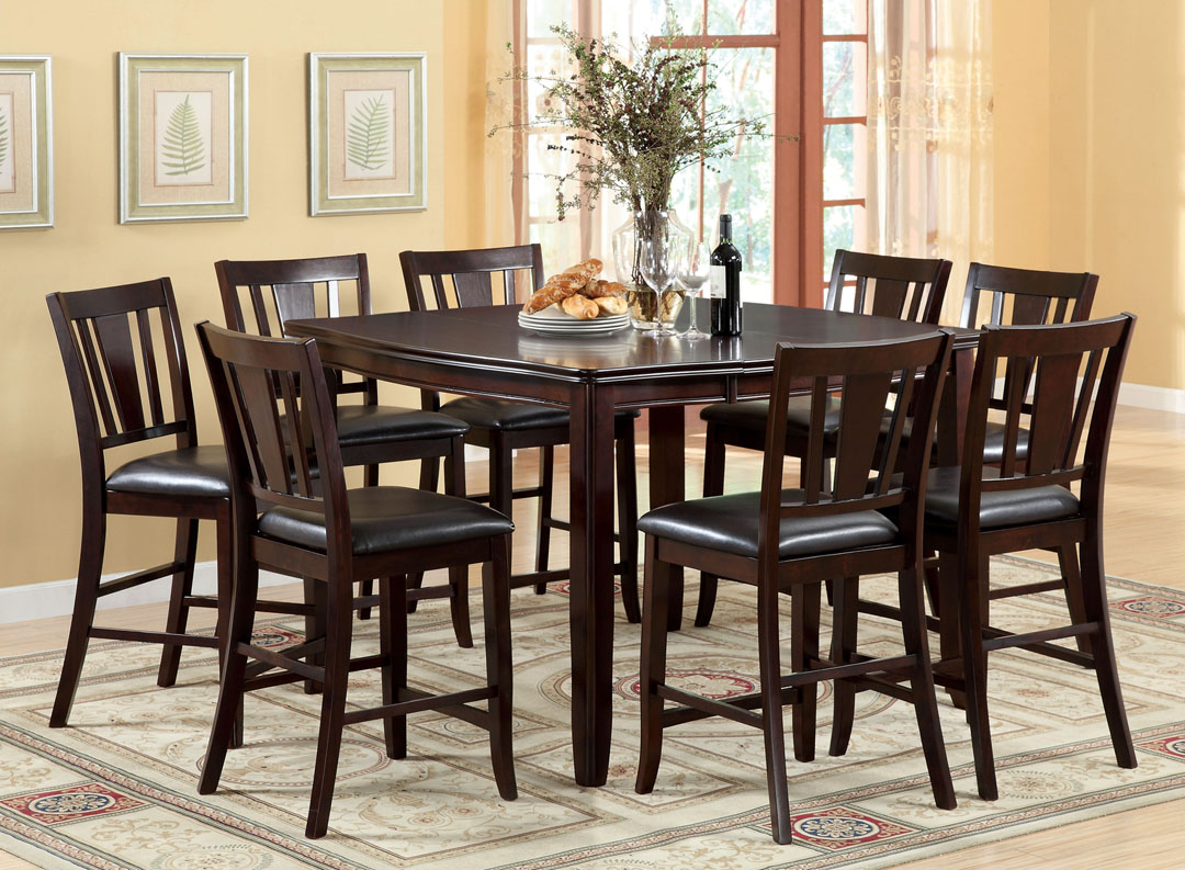9Pc Edgewood Wood Counter Height Dining Table Set Dark Espresso Furniture New