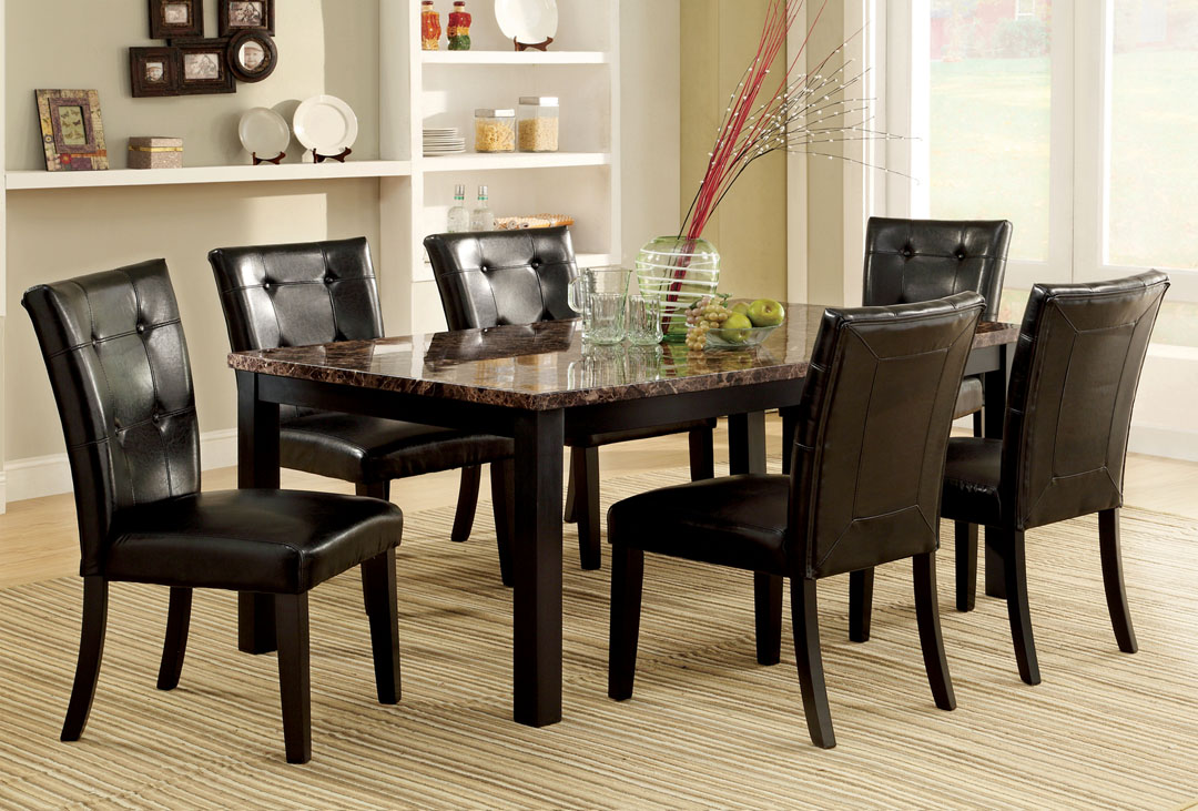 7 pc dining room table set with faux marble top espresso Black marble dining table set