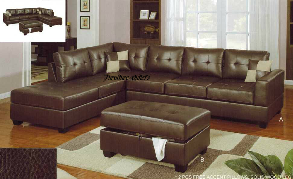 2pc sofas couch sectional sectionals with reversible for Bonded leather chaise