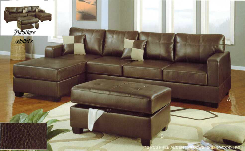 2 pieces bonded leather sofas couch w reversible chaise for Bonded leather sectional sofa with chaise