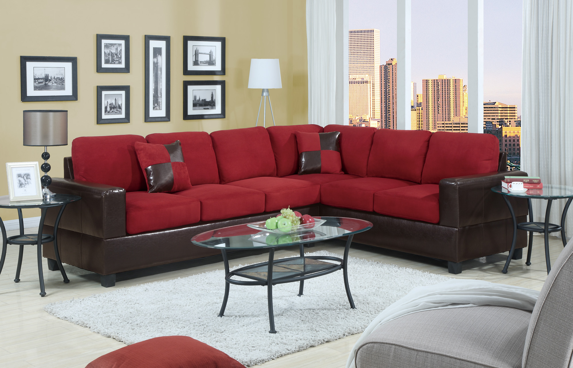 Bobkona Sofa Corner Sectional Sectionals Couch HOT SET W 2