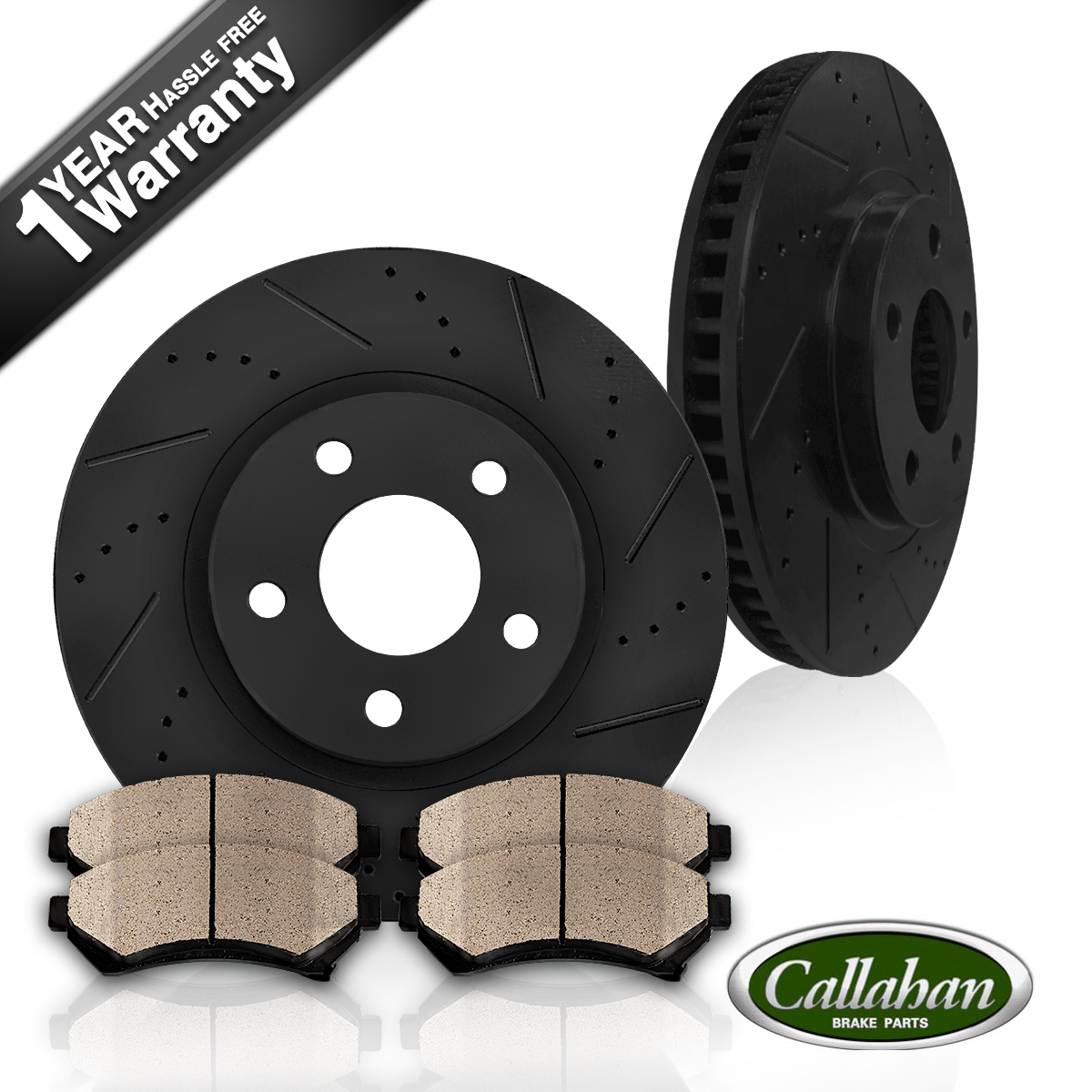 FRONT KIT BLACK DRILLED AND SLOTTED BRAKE ROTORS  CERAMIC PADS
