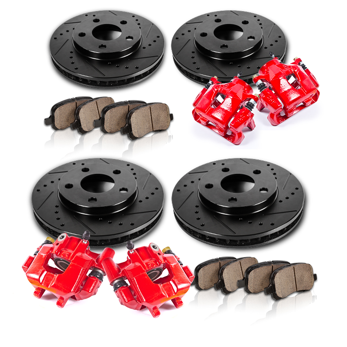 Sold 2004 2005 2006 2007 2008 Acura Tl Front Bumper Meugen: Front And Rear Red Calipers & Black Rotors & Pads 2005