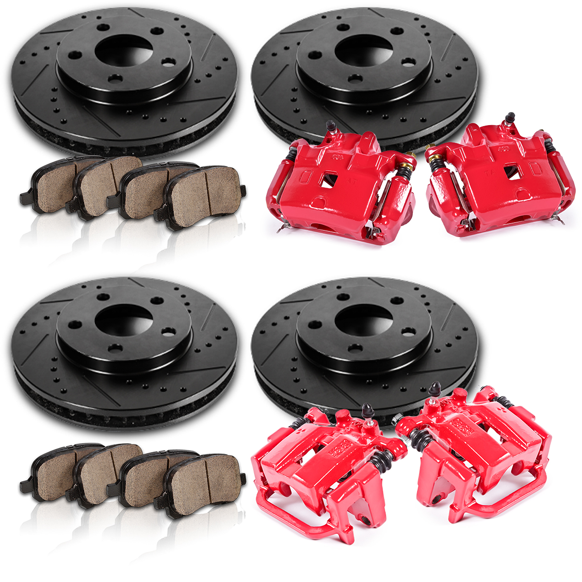 2004 Infiniti G35 Rotors: Front And Rear Red Calipers Rotors Pads FITS 2002 2003