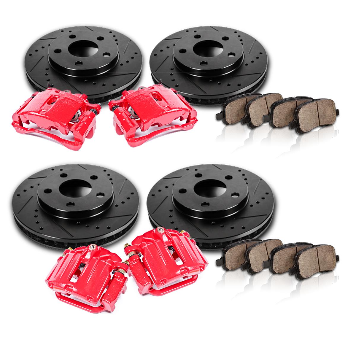Front And Rear Red Brake Calipers & Rotors & Pads HONDA
