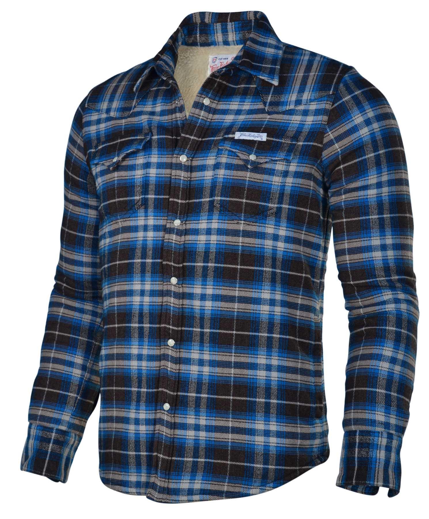 True religion brand jeans men 39 s flannel plaid sherpa shirt for Best flannel shirt brands