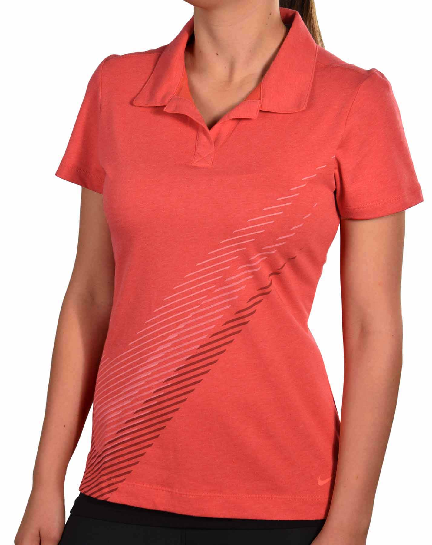 Nike women 39 s dri fit sports swoosh golf polo shirt for Women s dri fit golf shirts