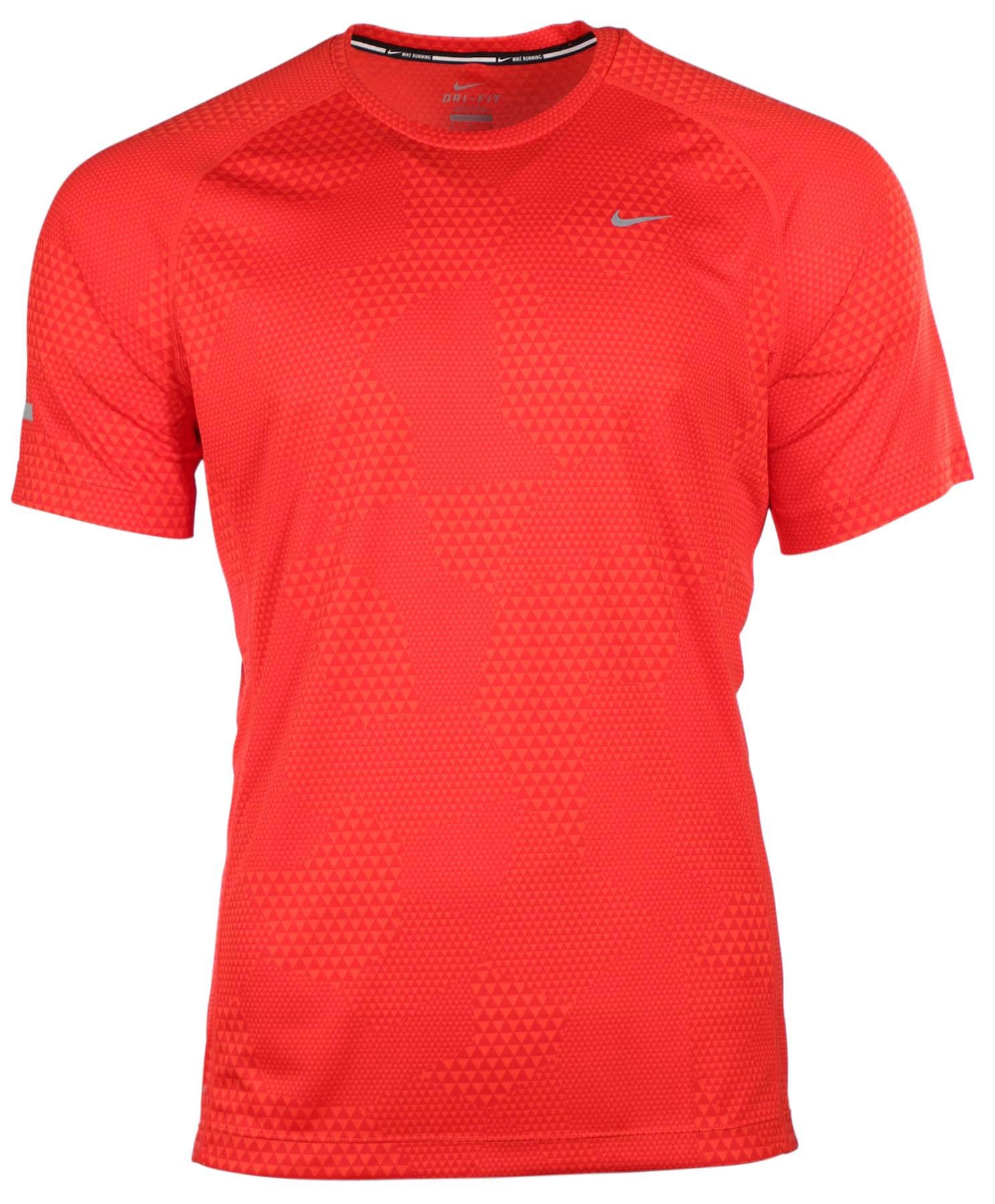 Nike Men 39 S Dri Fit Geo Printed Miler Running Shirt Ebay