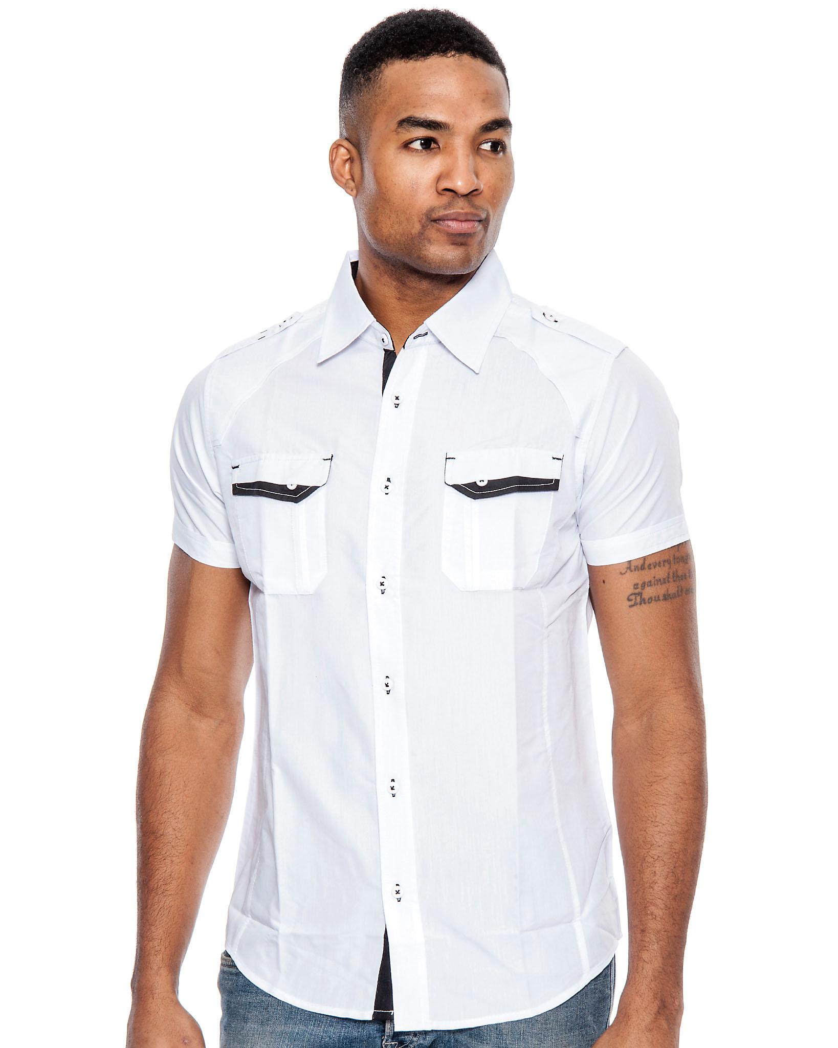 True rock men 39 s poker short sleeve slim fit button down for Men s tall slim shirts