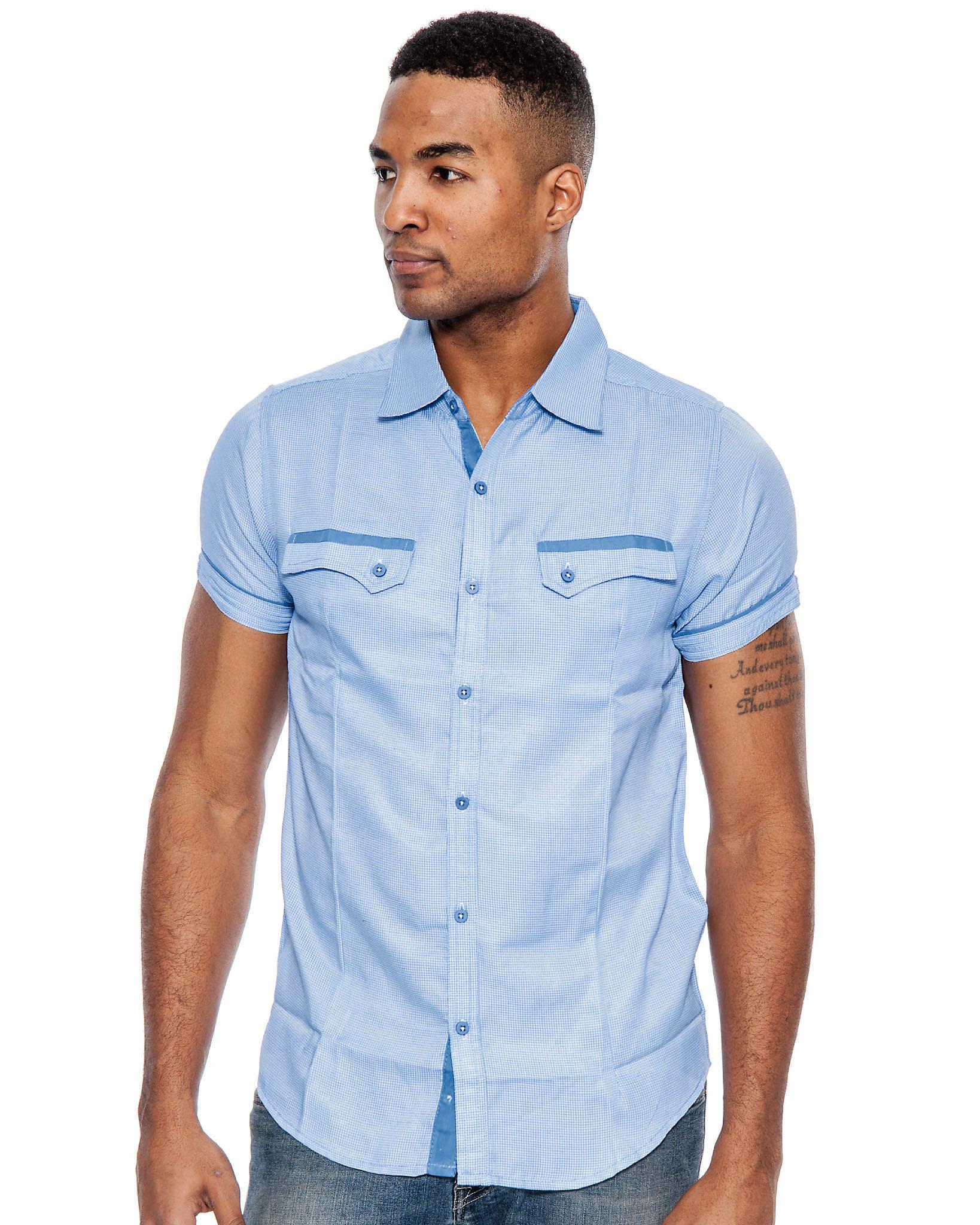 True rock men 39 s poker short sleeve slim fit button down for Mens slim fit short sleeve shirts
