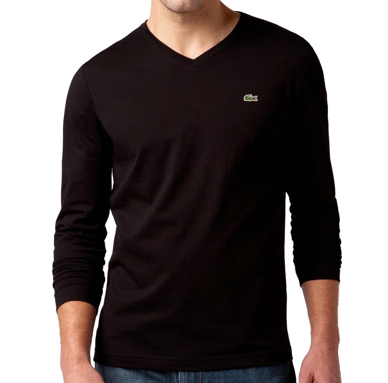Lacoste men 39 s long sleeve pima jersey v neck t shirt ebay for Long sleeve v neck t shirt mens
