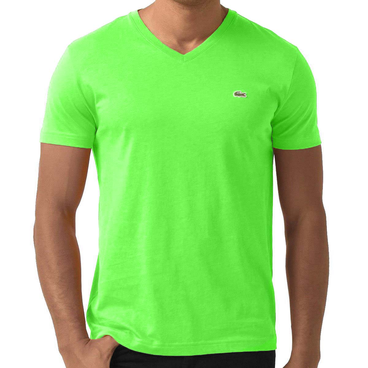 Lacoste men 39 s short sleeve v neck pima cotton t shirt ebay for Pima cotton tee shirts