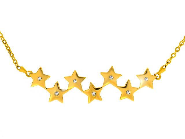 9ct Yellow Gold Diamond Star Necklace