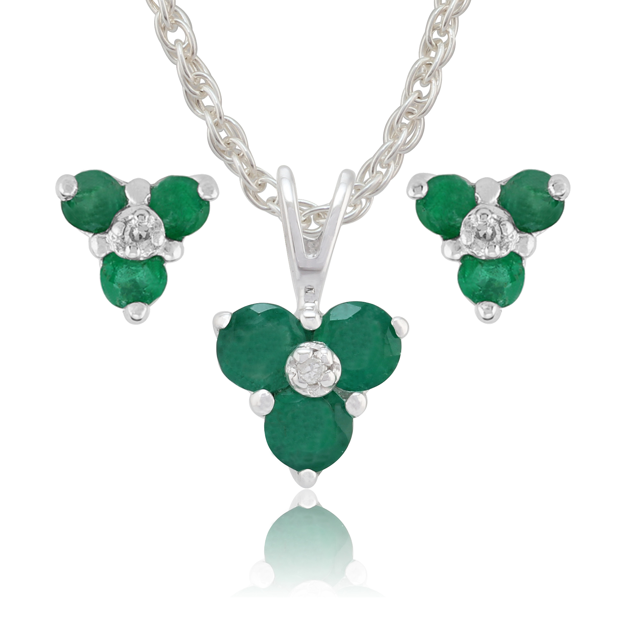Gemondo 9ct White Gold Emerald & Diamond Cluster Stud Earring & Necklace Set