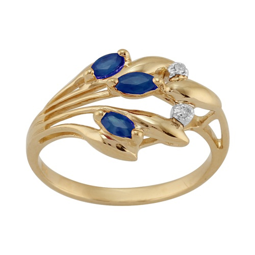 9ct Yellow Gold 0.22ct Natural Sapphire & Diamond Floral Style Ring Size: P