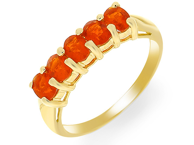 9ct Yellow Gold Fire Opal Five Stone Ring