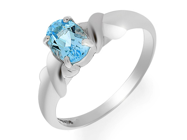 9ct White Gold Sky Blue Topaz Ring