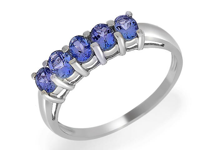 9ct White Gold 0.83ct Tanzanite Five Stone Ring Size: U