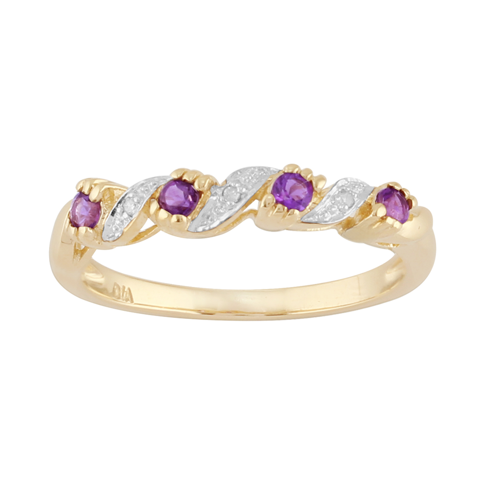 9ct Yellow Gold 0.16ct Natural Amethyst & 1.2pt Diamond Half Eternity Ring