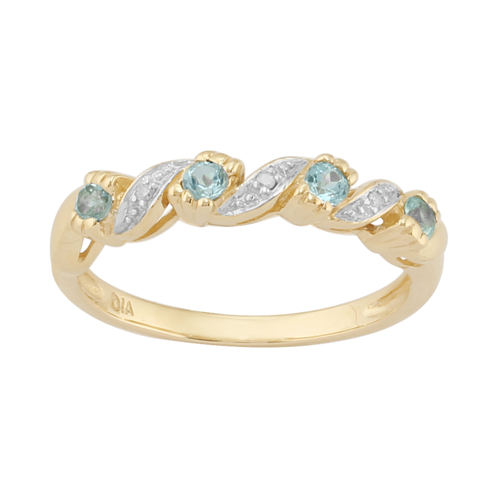 9ct Yellow Gold 0.22ct Natural Blue Topaz & 1.2pt Diamond Half Eternity Ring
