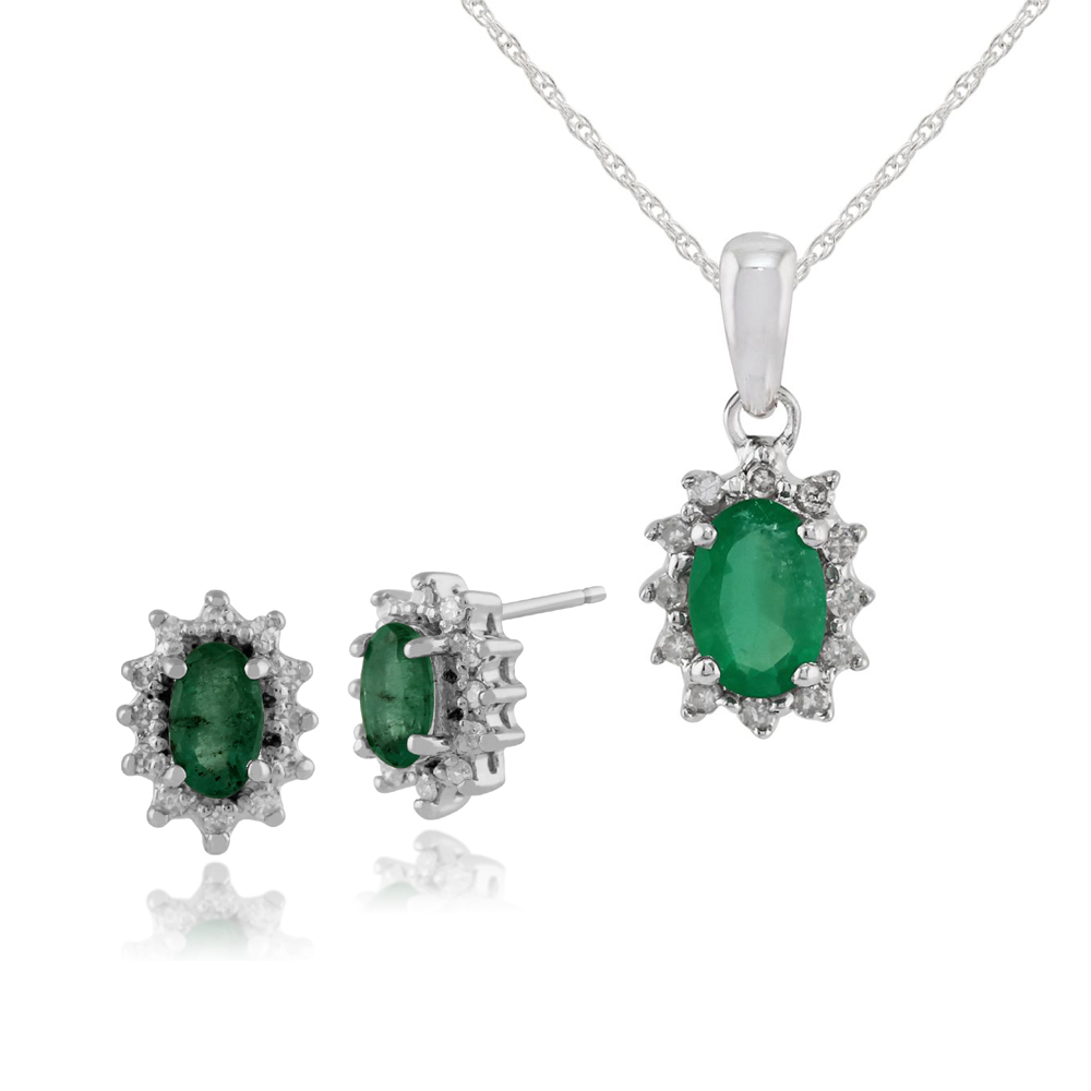 Gemondo 9ct White Gold Emerald & Diamond Cluster Stud Earrings & 45cm Necklace Set