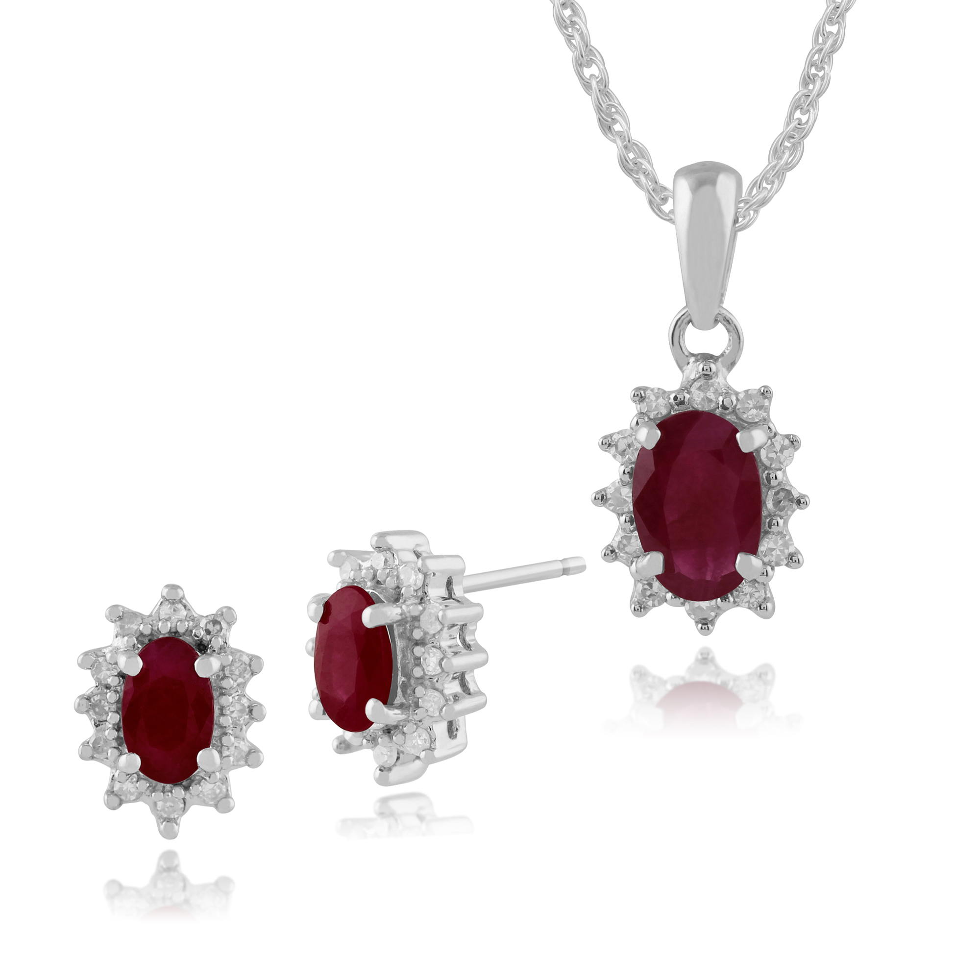 9ct White Gold Natural Ruby & Diamond Cluster Stud Earrings & 45cm Necklace Set