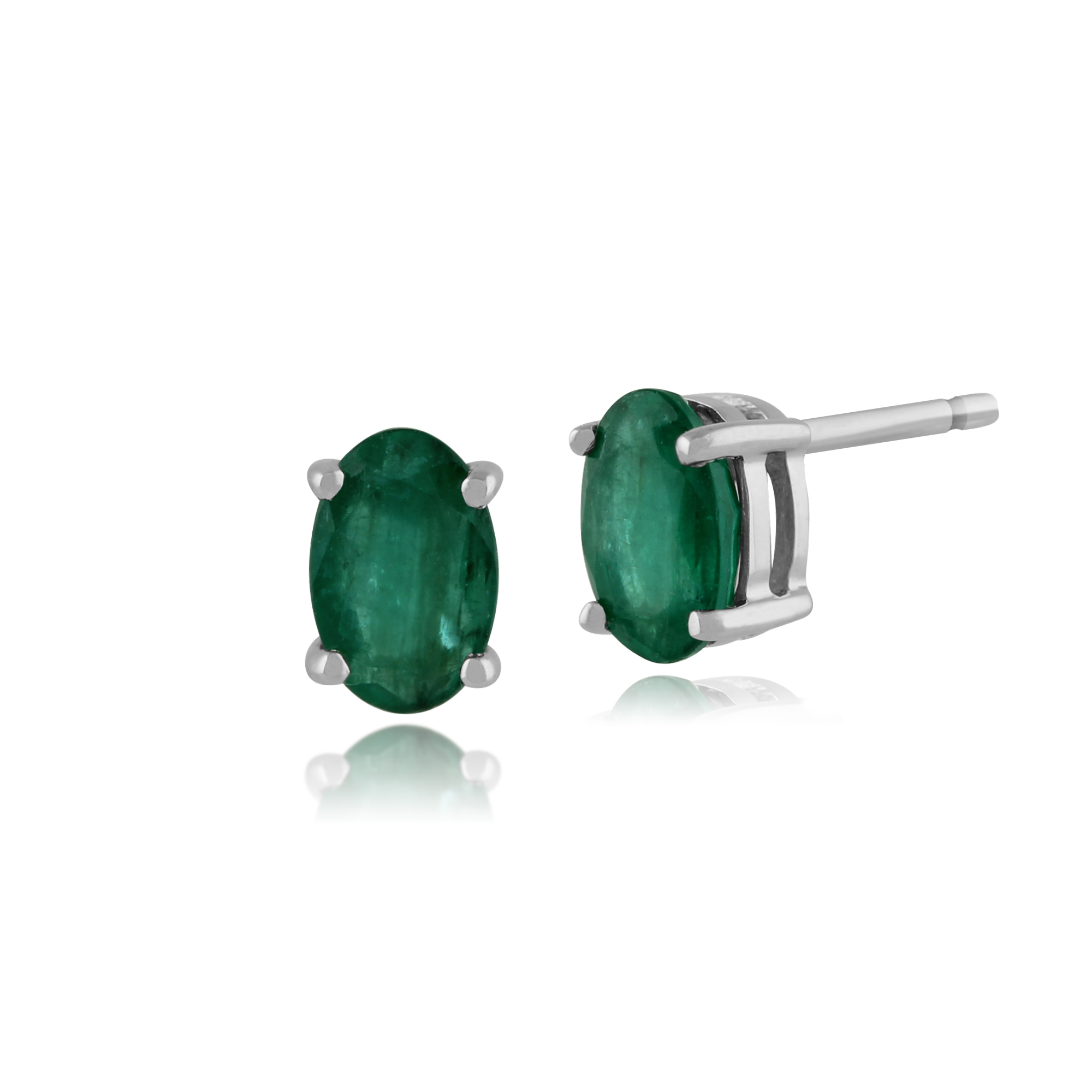 Gemondo 9ct White Gold 0.94ct Emerald Oval Stud Earrings