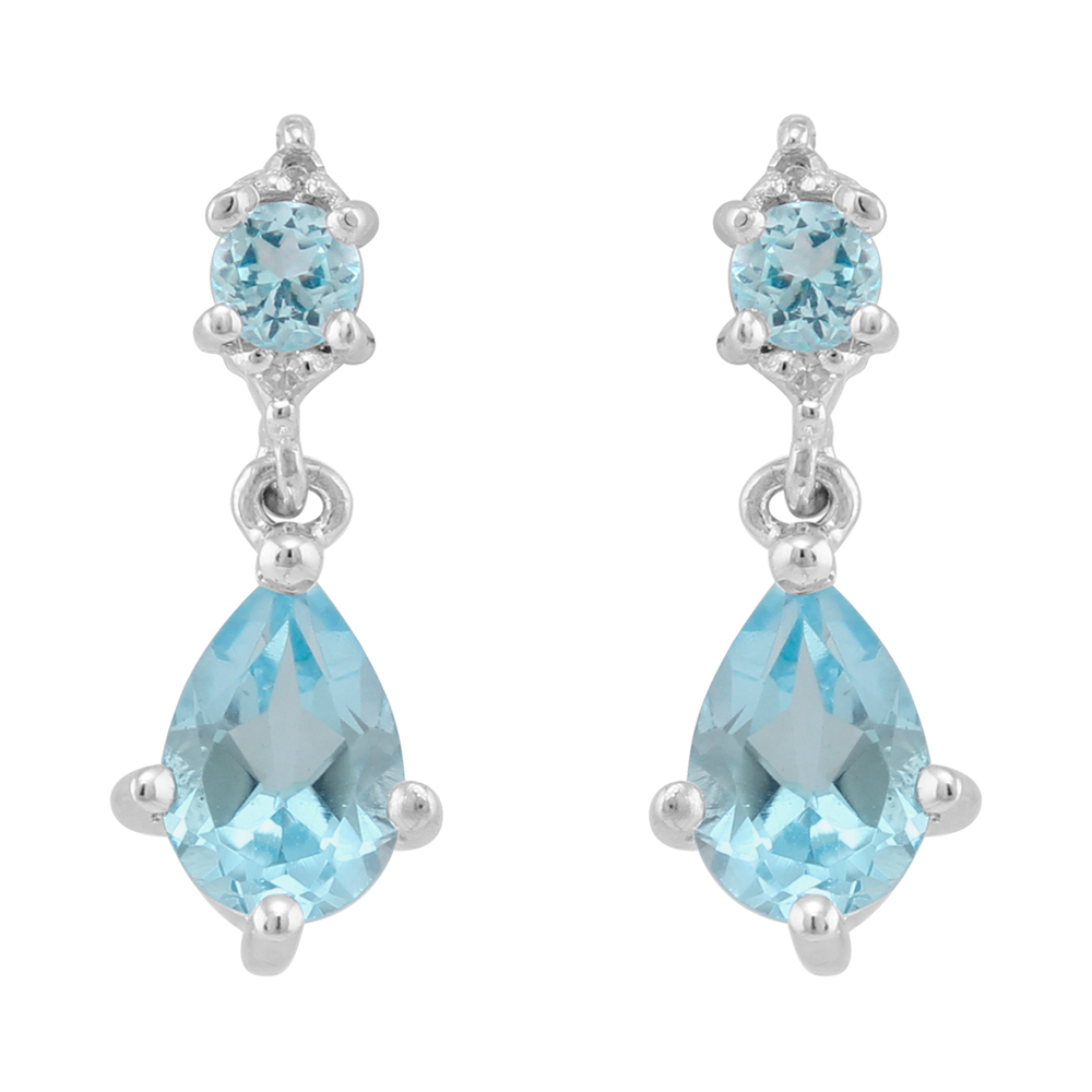 9ct White Gold 1.08ct Natural Blue Topaz & 1.6pt Diamond Classic Drop Earrings