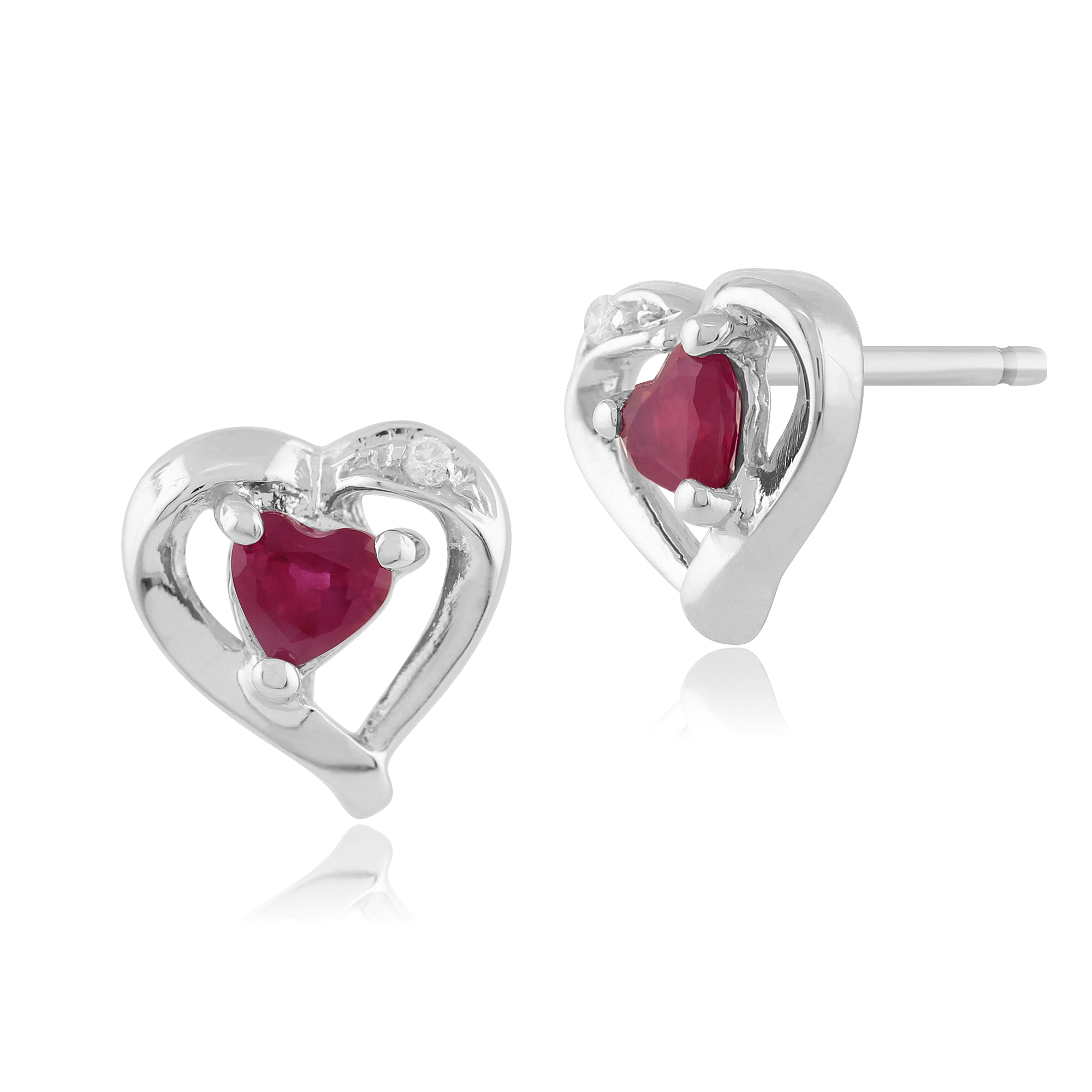 Gemondo 9ct White Gold 0.25ct Genuine Ruby & Diamond Heart Stud Earrings