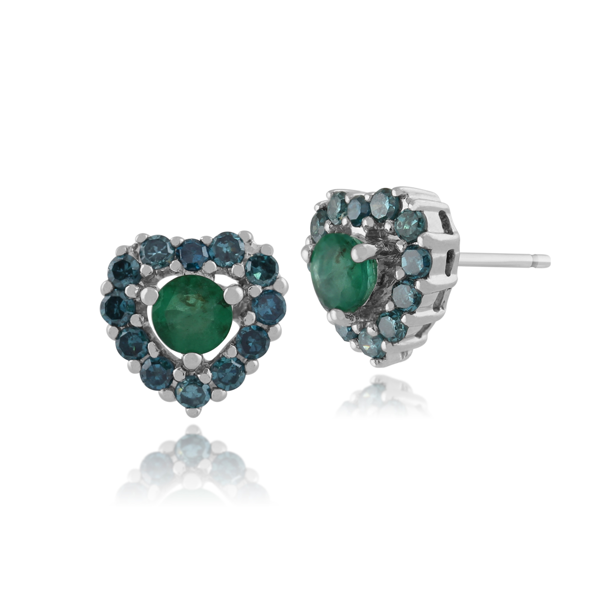 Gemondo9ct White Gold 0.40ct Emerald & Green Diamond Heart Stud Earrings