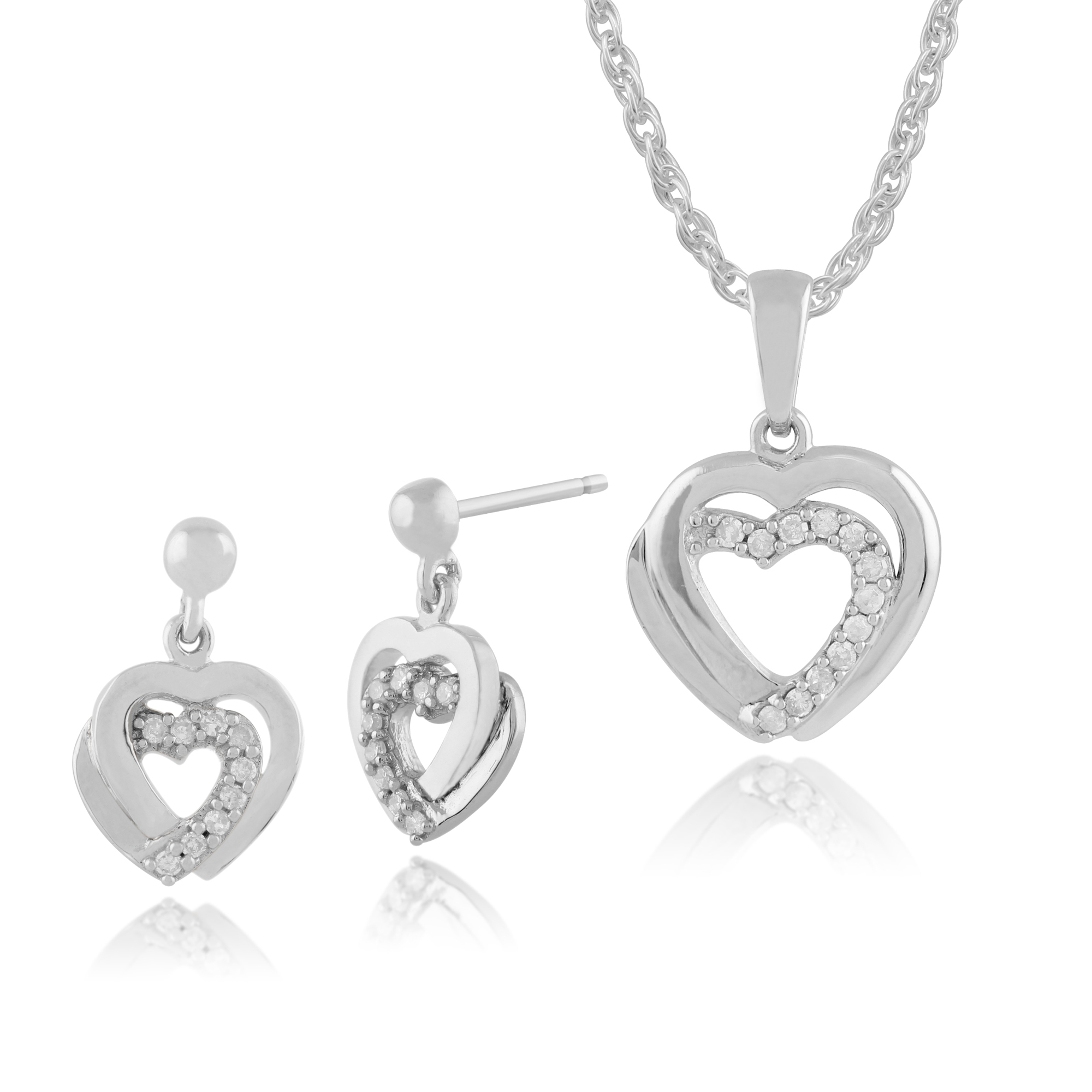 Gemondo 9ct White Gold Diamond Hearts Drop Earrings & 45cm Necklace Set