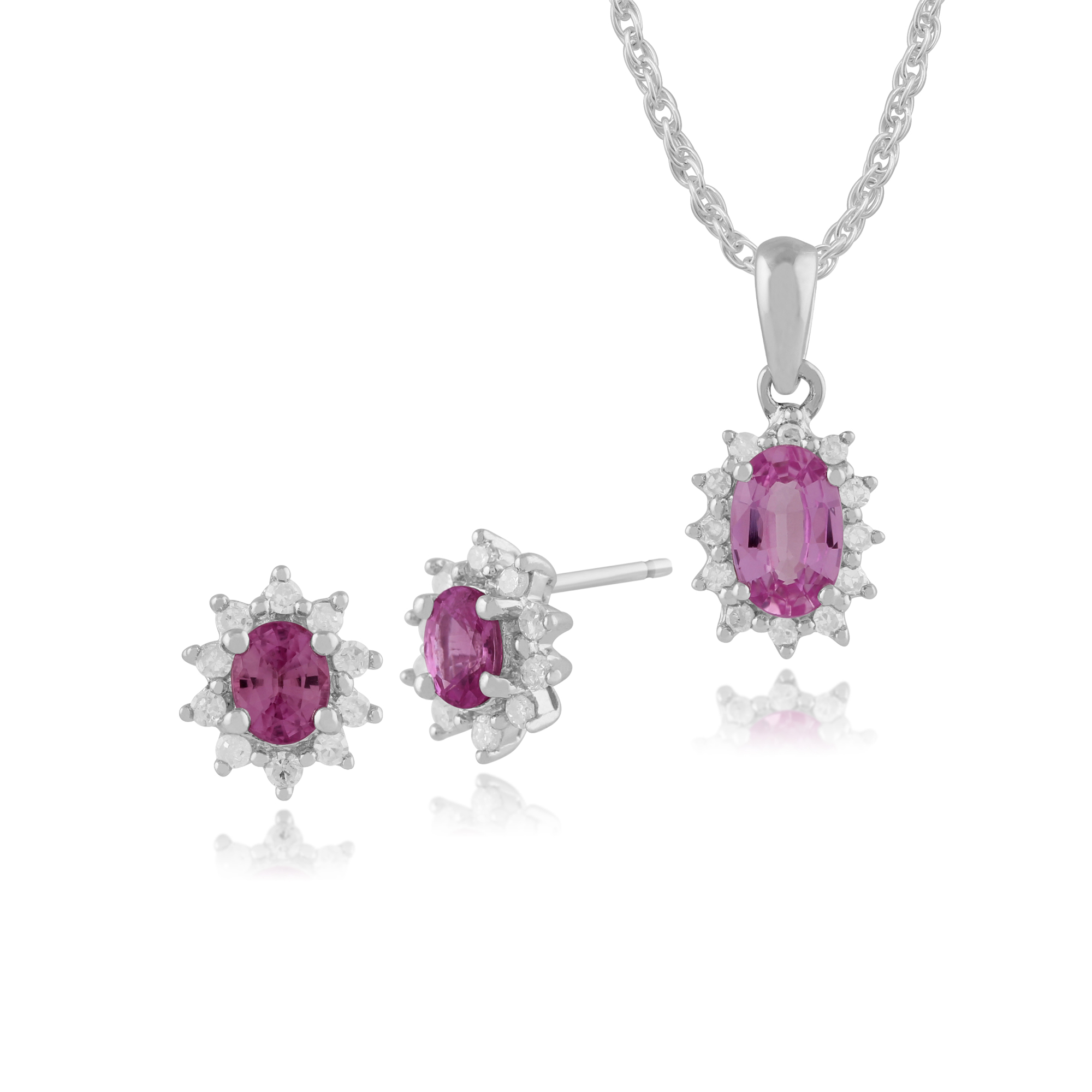 9ct White Gold Pink Sapphire & Diamond Stud Earrings & 45cm Necklace Set