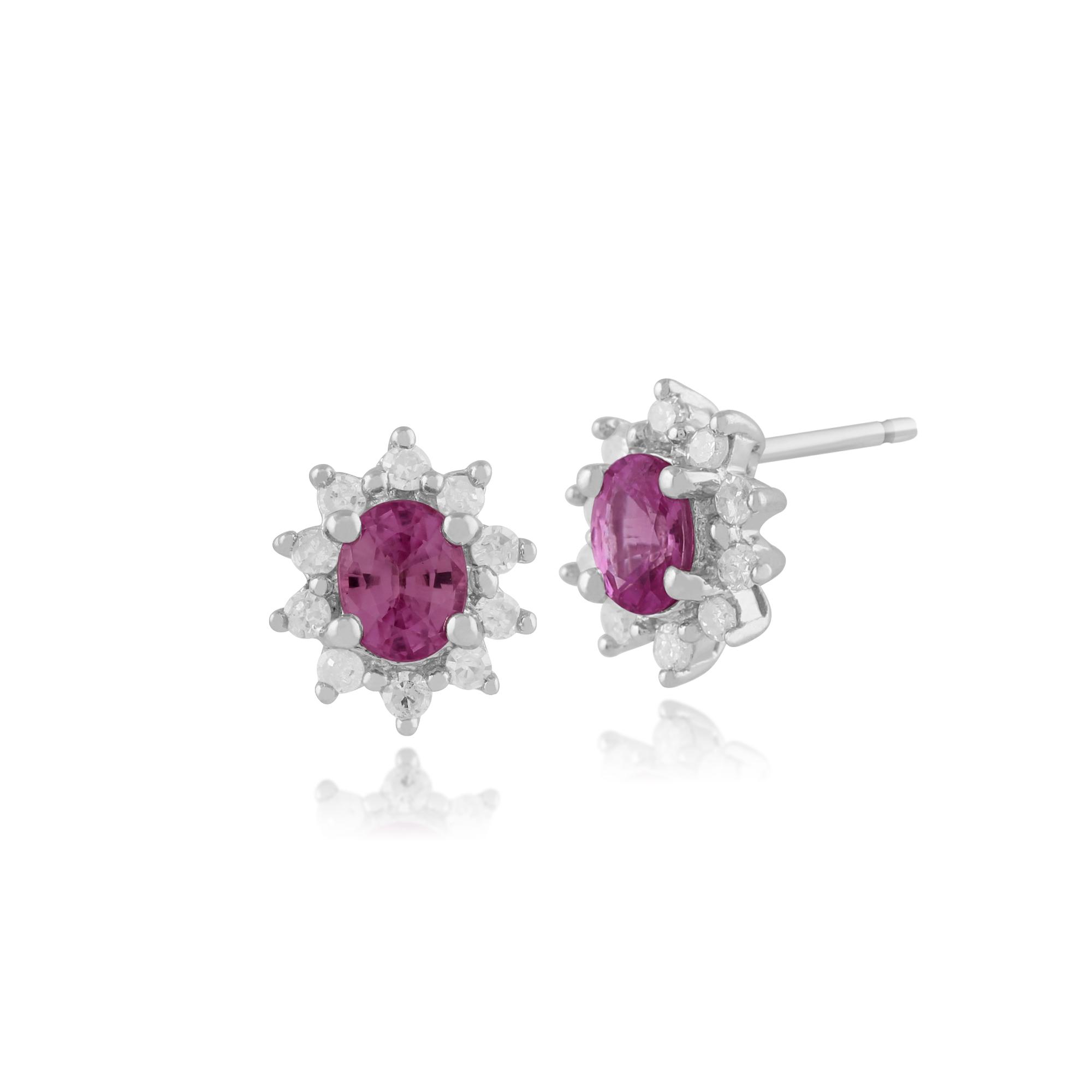 9ct White Gold Pink Sapphire & Diamond Stud Earrings