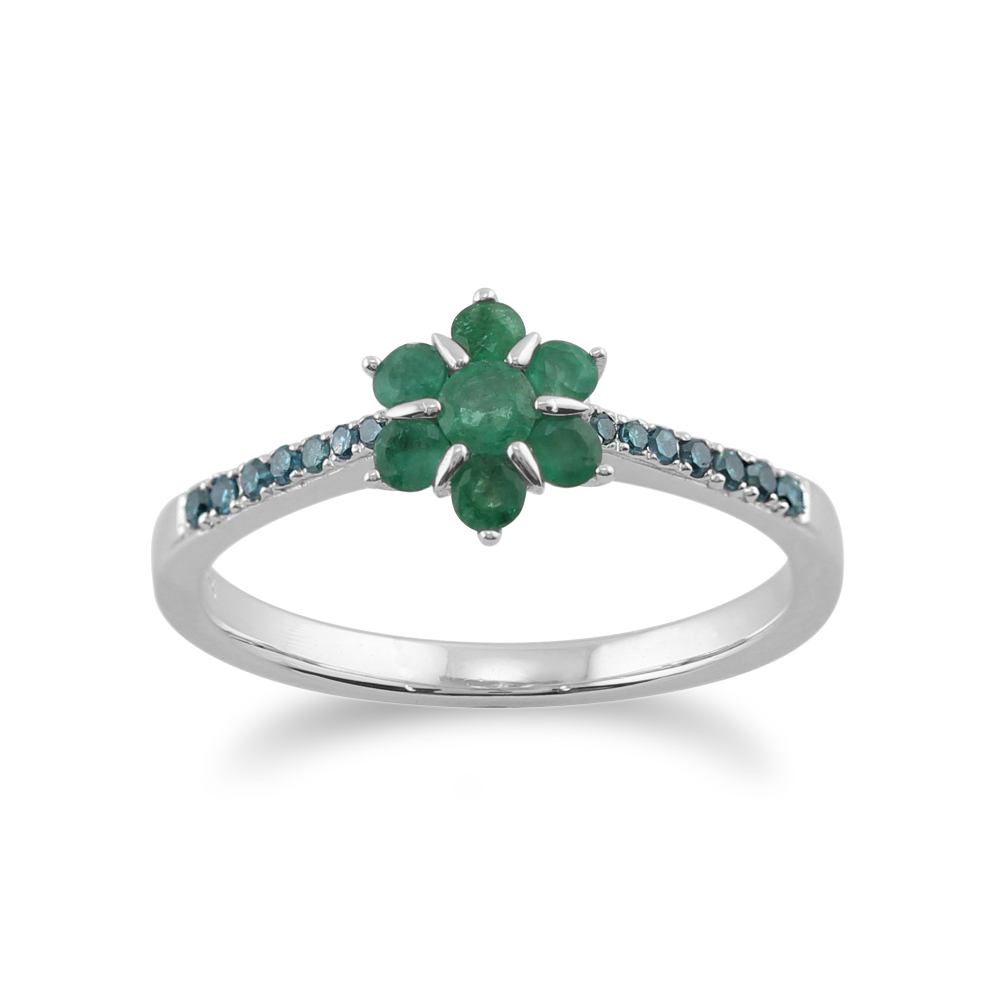 Gemondo 9ct White Gold 0.40ct Emerald & Green Diamond Floral Ring