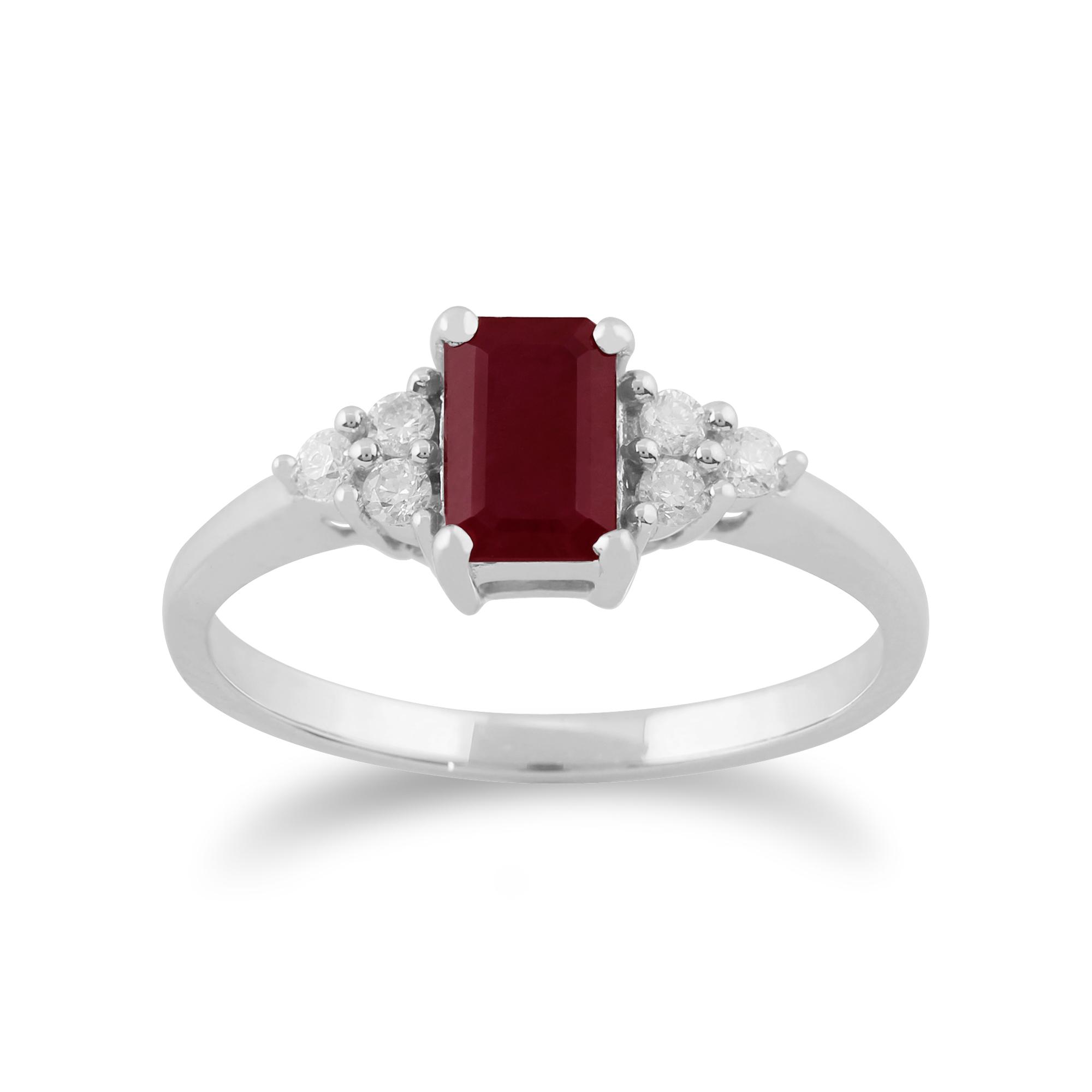 9ct White Gold 0.66ct Natural Ruby & Diamond Single Stone Ring Size: M