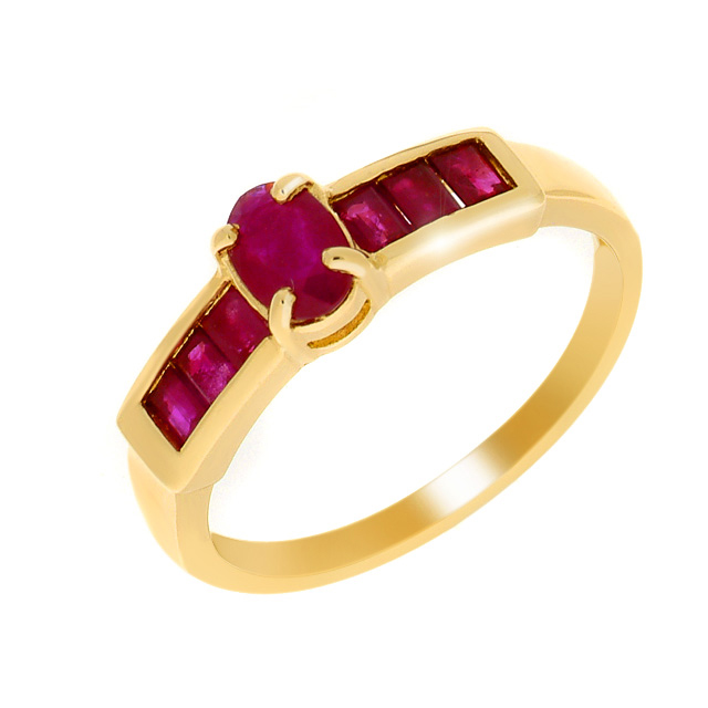 9ct Yellow Gold 1.12ct Natural Ruby Cocktail Ring Size: M