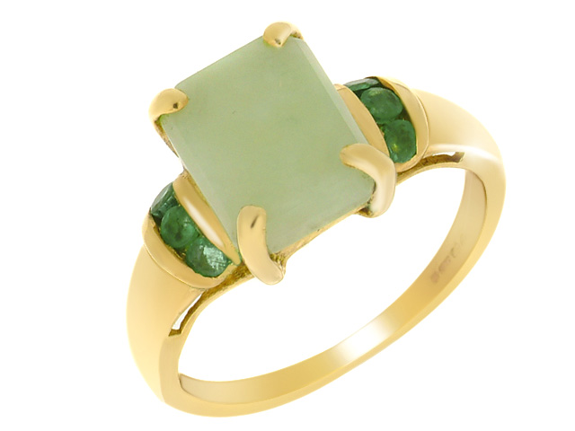 9ct Yellow Gold Jade 