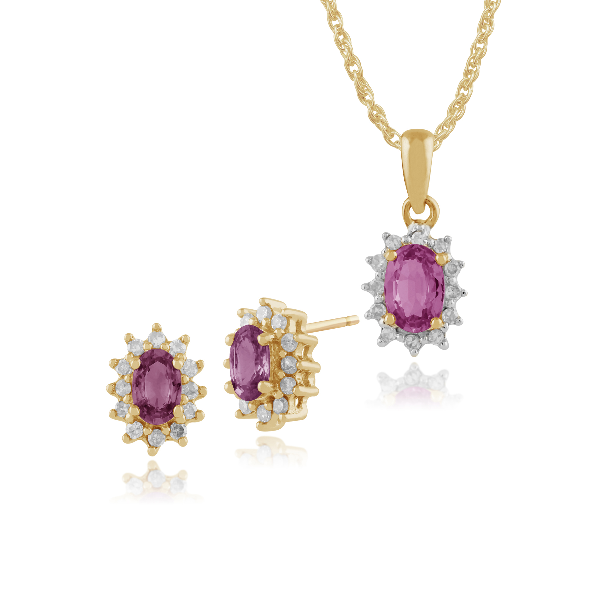 9ct Yellow Gold Pink Sapphire & Diamond Stud Earrings & 45cm Necklace Set