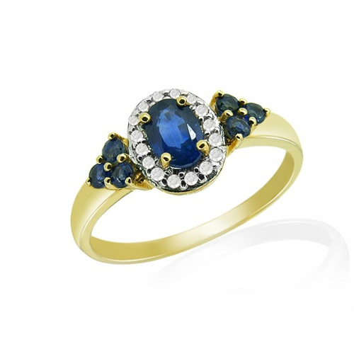18ct Yellow Gold 0.76ct Sapphire & 8pt Diamond Cluster Ring Size: X
